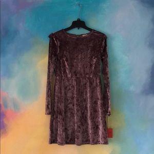 NWT Mossimo purple velvet dress with ruffles S